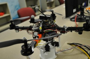 An example of the drones under development by Dr. Sebastian Elbaum and Dr. Carrick Detweiller. This particular drone is being developed to collect water samples in remote locations and then return the samples to a scientist for data analysis. (Photo by Ryan Robertson, NET News)