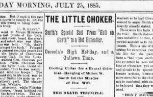 Coverage of Milton Smith's execution by the Red Cloud Chief hints at the public attitudes towards public hangings in the late 1800's in Nebraska.  (Source: Library of Congress)