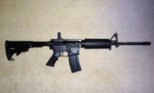 An AR-15 style rifle is a civilian version of the military's M4 and M16 rifles. This AR-15 shoots .223 caliber bullets, and is one of the most popular semi-automatic rifles in the United States. It is also on the list of banned weapons in a bill proposed by Senator Diane Feinstein of California. (Photo Courtesy of Subtlemd, Flickr.com)