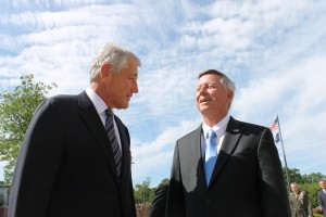 Secretary of Defense Chuck Hagel and Nebraska Governor Dave Heineman speak at UNO (Photo Courtesy KVNO News)