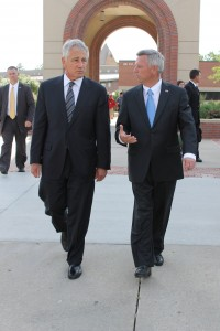Governor Heineman and Secretary Hagel head to the Strauss Performing Arts Center on the Campus of UNO (Photo Courtesy KVNO)