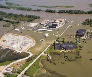 The Fort Calhoun Nuclear Power Plant was surrounded by a sea of muddy water. This picture was taken approximately June 17, 2011. (Photo provided by OPPD)
