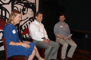 Councilwoman Aimee Melton and City Council President Pete Festersen answer questions about plans for the city Thursday night during an event hosted by Omaha Young Professionals. (Photo Courtesy KVNO News)