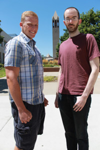 (L-R) Quinn Guilds, graduate student in criminology/criminal justice; and Dan Harris, doctoral student in the industrial/organizational psychology program, have both been recognized by the U.S. Department of Homeland Security. (Photo Courtesy KVNO News)