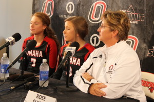 Head coach Rose Shires (right) heads into her 24th year as UNO's volleyball coach. (Photo Courtesy KVNONews)