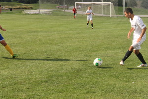 Freshman defender Sam Langston collects a pass from a teammate. (Photo Courtesy KVNO News)