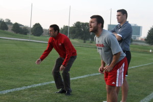 Head Coach Jason Mims (left) reacts to a play in overtime. (Photo Courtesy KVNO News)