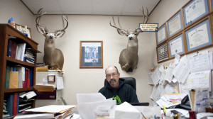 Dr. Peter Lueninghoener sits in his office at Elkhorn Valley Family Practice in O'Neill, Neb. (Photo by Hilary Stohs-Krause, NET News)