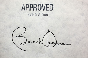 President Obama's signature on the health care reform bill. (Photo Courtesy Wikipedia)