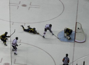 UNO's Johnnie Searfoss (23) scores his first of three goals on the game. (Photo Courtesy KVNO News)