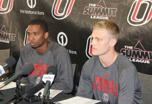 Senior guard Caleb Steffensmeier (right) yields to questions at UNO Basketball Media Day Tuesday. (Photo Courtesy KVNO News)