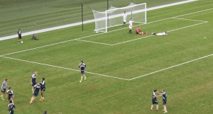 The agony of defeat. players react to ORU's final goal. (Photo Courtesy KVNO News)
