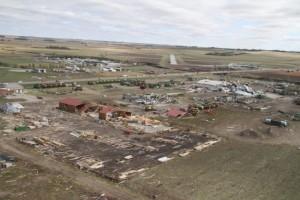 Tornado damage near the Wayne Municipal Airport in Wayne, Nebraska. (Photo courtesy of Nebraska State Patrol)