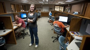 Southeast Community College student Emma Lehman is one of only three women in the Milford Campus's computer science program. The number of women studying the field has dropped considerably over the last few decades. (Photo by Hilary Stohs-Krause, NET News)