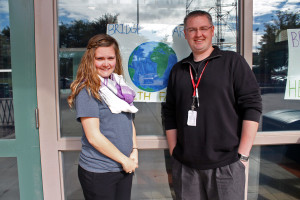 L-R Chelsea Souder and Andrew Lemke volunteer with Bridge to Care. (Photo Courtesy KVNO News)