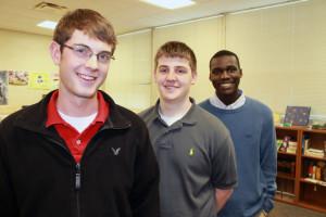 L-R Seniors Pat Morrison, Chandler Andrews and Walter Paul are students in Katy Salzman's class at Creighton Prep. (Photo Courtesy KVNO News)
