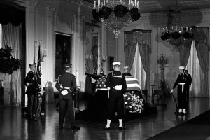 The body of President John F. Kennedy lies in state at the White House. (White House photo)