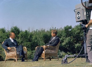 CBS anchor Walter Cronkite interviews Kennedy in 1963. (White House photo)