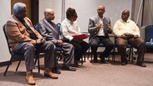 Board members speak to the public at a recent meeting about the future of the Great Plains Black History Museum in Omaha. (Photo by Hilary Stohs-Krause, NET News)