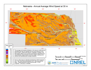 A map of Nebraska showing the potential for wind power at 50 meters in the air. (Photo Courtesy Department of Energy)