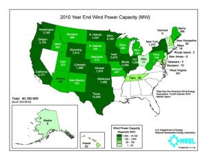 Map of the United States and how much wind power each state currently produces. (Photo Courtesy Department of Energy)