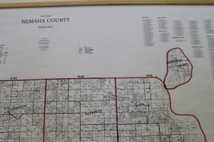 McKissick Island (far right), on a map that hangs on the wall of the office of the Nemaha County clerk. (Photo by Mike Tobias, NET News). CLICK HERE for a Google Map of McKissick Island and the surrounding area. Maybe better known is the Iowa community that sits on the Nebraska side of the Missouri River. CLICK HERE to learn more about Carter lake, Iowa.