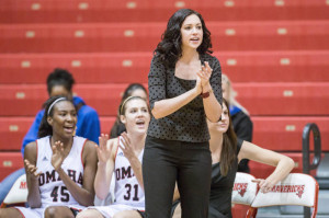 Brittany Lange (center)  and the Mavs have lost five straight. (Photo Courtesy UNO Athletics)