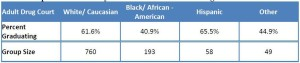 Breakdown of drug court participation by race. (Graph prepared by University of Nebraska Public Policy Center)