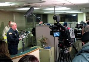Omaha Interim Fire Chief, Bernard Kanger, addresses the media Monday night. (Photo by Grant Gerlock, NET News)