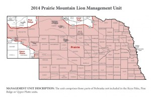 Nebraska Game and Parks offered unlimited mountain lion tags in the Prairie Unit (in red) in 2014. The first season in the Pine Ridge Unit already closed. The second runs from February 15 - March 31.  100 mountain lion tags were drawn for that season but it only lasts until two males or one female lion are killed, whichever happens first. The Upper Platte and Keya Paha units have not been opened to any mountain lion hunting in 2014. (Map source: Nebraska Game and Parks Commission)