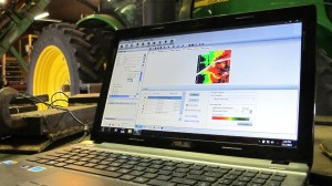 This laptop is an essential tool on Dave Beck's farm. He uses it to design maps to apply different doses of seed, water, and fertilizer on his fields. (Photo by Grant Gerlock, NET News/Harvest Public Media)