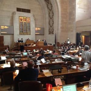 Senators watch as votes are tallied in the Nebraska Legislature Tuesday (photo by Fred Knapp, NET News)