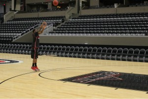 CJ Carter warms-up before practice at Ralston Arena. (Photo Courtesy Brandon McDermott)