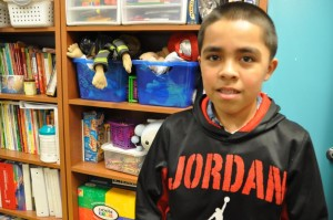 Emiliano Flores is a fourth grade student at Castellar Elementary, and is enrolled in the dual language program. Flores' family is from Queretaro, Mexico, where he was born. Flores has been enrolled at Castellar since pre-K, and although he isn't a native English speaker, his grasp of the language has improved to the point where he is now longer at a disadvantage, and can now take tests in English. (Photo by Ryan Robertson/NET News)