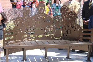 The local chapter of Alpha Phi Alpha Fraternity Inc., dedicated this bench to Druid Hill Elementary School. It was designed by Les Bruning.