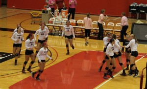 The UNO Volleyball team celebrates after last year's 3-0 victory over North Dakota State. (Photo Courtesy Brandon McDermott)