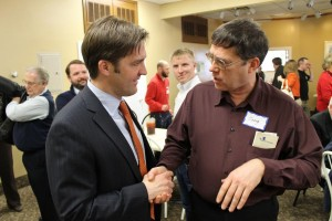 Ben Sasse (right) at the Greater Omaha Pachyderm Luncheon. (Photo by Mike Tobias, NET News)