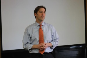 Ben Sasse speaking at the Great Omaha Pachyderm Luncheon. (Photo by Mike Tobias, NET News)