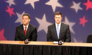 Nebraska Attorney General Jon Bruning and State Sen. Beau McCoy before Thursday night's debate (Photo Courtesy Brandon McDermott)
