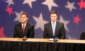 Nebraska Attorney General Jon Bruning and State Sen. Beau McCoy before Thursday night's debate (Photo Courtesy Brandon McDermott)
