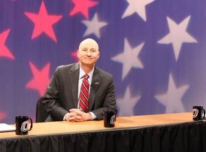 Pete Ricketts before May's GOP debate at UNO. (Photo Courtesy Brandon McDermott)