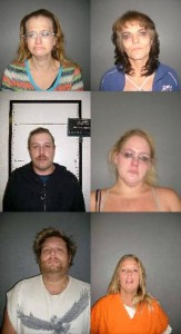 Implicated in Ogallala, Nebraska meth sales: (L-R) Linda Breese, Beth Donner, Bobby Griffin, Kirsten Griffin, Chris Hackbart, Jacklynn Walker. (Photo courtesy of Keith County Jail)