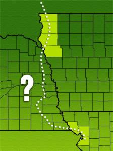 Iowa and Missouri disclose Bakken shipments through highlighted counties. Nebraska does not disclose, but BNSF tracks through the state connect the Iowa and Missouri counties. (Graphic by Scott Beachler, NET)