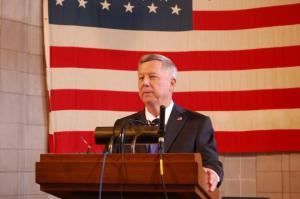 Gov. Dave Heineman responds to legislative subpoena Thursday afternoon (Photo by Fred Knapp, NET News)
