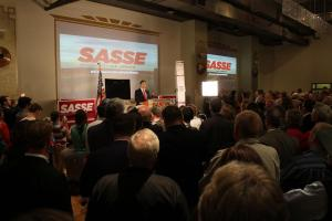 Sasse speaks to supporters at his primary election night gathering. (Photo by Mike Tobias, NET News)