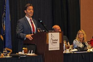 Sasse speaks at the Independent Insurance Agents of Nebraska meeting. (Photo by Mike Tobias, NET News)