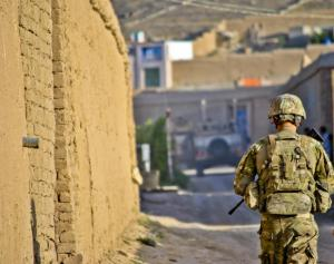 A Nebraska Army National Guard soldier on patrol in Afghanistan in 2010. (Photo courtesy of NE National Guard)
