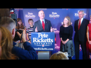 Pete Ricketts speaks to supporters (Photo by Fred Knapp, NET News)