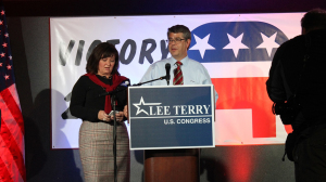 Republican congressman Lee Terry addresses supporters in Omaha. (Photo by Robyn Murry, NET News)