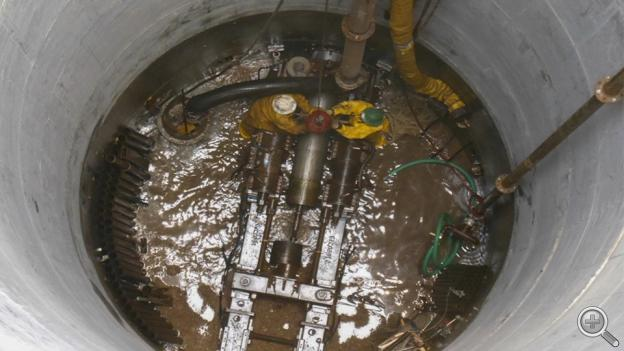 Looking down inside the caisson of the new horizontal collector well. (Photo courtesy Lincoln Water System)